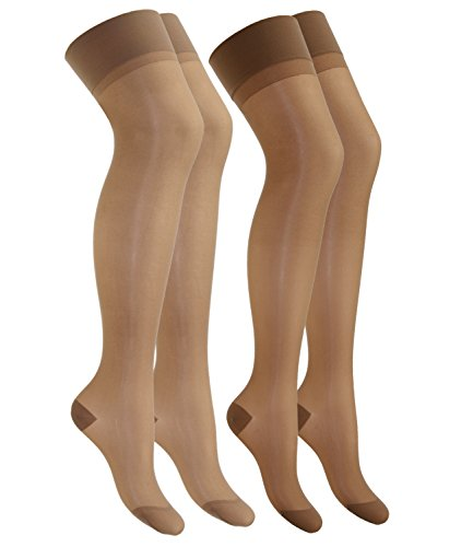 EveryHead Riese 2er Pack Damenfeinstrümpfe für Hüfthalter Strapsstrümpfe Doppelpack Markenfeinstrümpfe Damen (RS-10218-S18-DA4-66-62-8,5-9) in Perle-Marbella, Größe 8,5-9 inkl Hutfibel