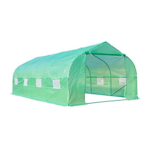 Outsunny serra da giardino 6 x 3 x 2 m con tetto a spiovente in pe per piante, verde