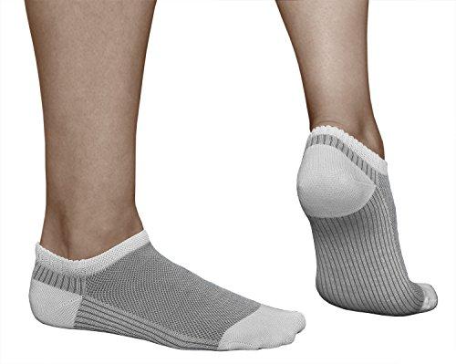 vitsocks Calzini Corti Donna Estivi Extra Traspiranti (3 PAIA: Rossi Blu Grigi) Calze Fantasmini COTONE MERCERIZZATO Sneaker, 35-38