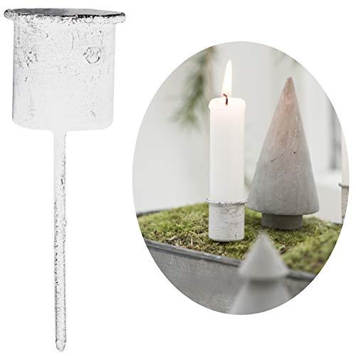 LS-LebenStil Stabkerzen-Halter Metall Spieß Weiß Kerzenständer Kerzenleuchter