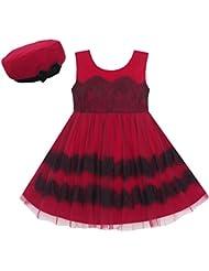 Sunny Fashion Robe Fille Princesse En laine peignée Hiver Chapeau Dentelle Rouge