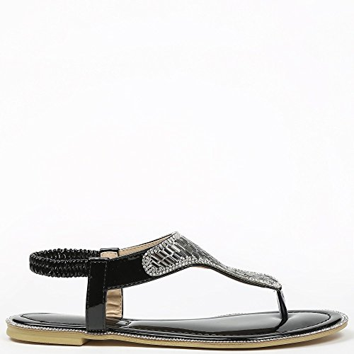 Ideal Shoes – Sandalen Flache Strass Dekor maelyn Schwarz - Schwarz