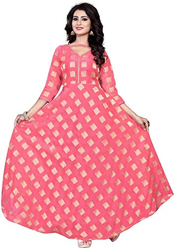 Drashti villa Women\'s Chanderi Cotton with Jacquard Butti Semi-Stitched Anarkali Gown (Pink, Free Size)