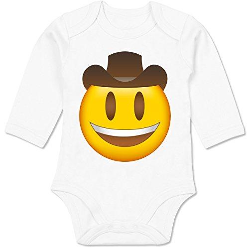 - Emoji Cowboy-Hut - 12-18 Monate - Weiß - BZ30 - Baby Body Langarm (Armee Gruppe Kostüm)