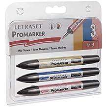 Letraset - Set de ProMarkers, 3 colores, tonos medios