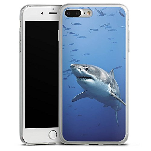 Apple iPhone 8 Slim Case Silikon Hülle Schutzhülle Hai Fisch Weißer Hai Silikon Slim Case transparent