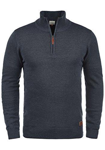 BLEND Robin Herren Strickpullover mit Troyer Kragen aus hochwertiger Baumwoll-Mischung, Größe:XL, Farbe:Navy (70230) (Herren-baumwoll-mischung)