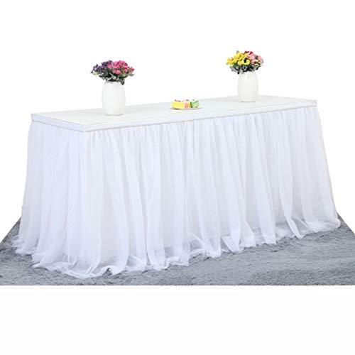 Gonna da tavolo in tulle per banchetto nuziale, decorazione casalinga, feste di natale white