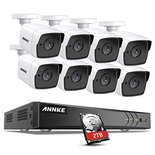 ANNKE 8MP kit système de sécurité 8CH 4K H.265+ DVR avec HDD 2TB et 8 caméras 5MP de Surveillance à l'épreuve des intempéries,Alerte Email et Accès à Distance