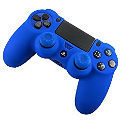 Sony PS4 Controller High Quality Protective Silicone Case Blue with 2 Blue Silicone Thumb Grips