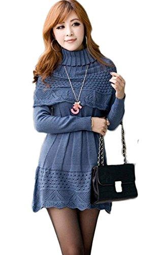Zeagoo Robe en tricot Pull robe Chandail à Manche Longue - Femme Bleu