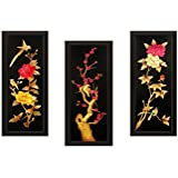 SAF Flower Textured Painting (Synthetic, 15 Cm X 38 Cm X 2 Cm, UV Print, Set Of 3, SAD106)