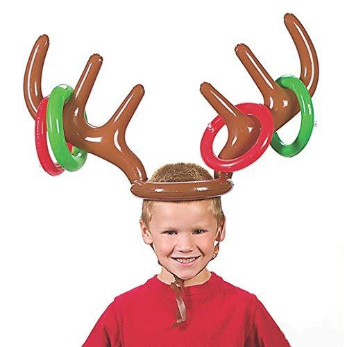 Carry stone Lustige aufblasbare Ren-Geweih-Hut werfen Ringe Weihnachtsfeier-Spiel-Spielzeug praktisch und nützlich