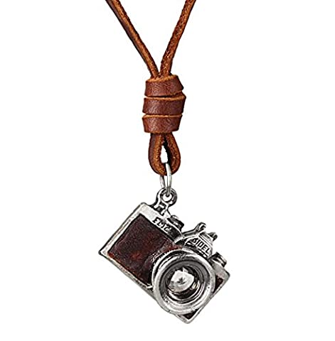 Wangjianfeng Retro camera cortical couple necklace , brown