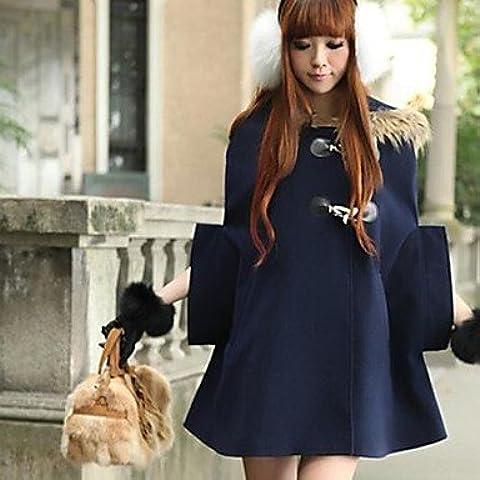 PU&PU lana del collare della pelliccia del cappotto plaid mantello tuta sportiva delle donne (più colori) , camel , l