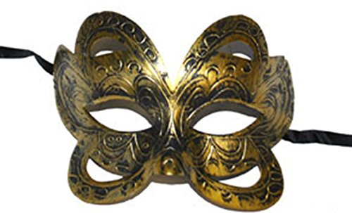 Halloweenia - Motto-Party Damen Cosplay Steampunk Maske, Choker Gothic, Gold