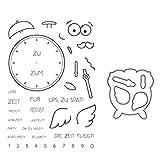 Tvvudwxx Cartoon Wecker Form Transparent Stempel + Schneiden Schablonen Set Silikon Siegel DIY Stamp...