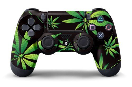 PS4 Controller Design Folie Aufkleber Sticker Skin fur Sony PlayStation 4 DualShock Wireless Controller - Weeds Black -