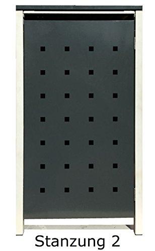 BBT@ | Hochwertige Mülltonnenbox für 3 Tonnen je 240 Liter mit Klappdeckel in Grau / Aus stabilem pulver-beschichtetem Metall / Stanzung 2 / In verschiedenen Farben sowie mit unterschiedlichen Blech-Stanzungen erhältlich / Mülltonnenverkleidung Müllboxen Müllcontainer - 6