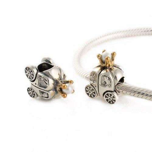"""Andante-Stones Argento massiccio 925 e oro Perlina """"Carozza"""" con perla bianca Ciondolo da donna Charm Bead per bracciali e collane europeis + Sacchetto di organza"""