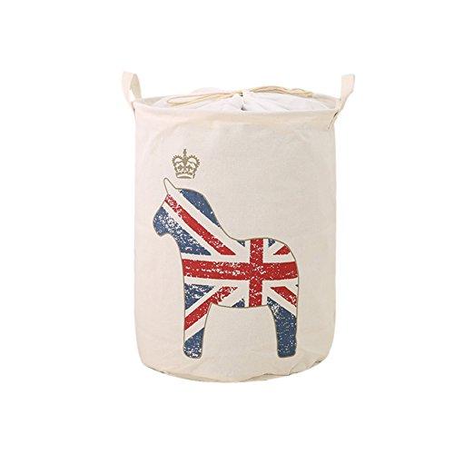 1 x Toruiwa Panier de rangement en lin Chiffon Seau de stockage Panier à linge pliable Boîte de rangement multi-usages Vêtements Sundries Container 35*45 cm