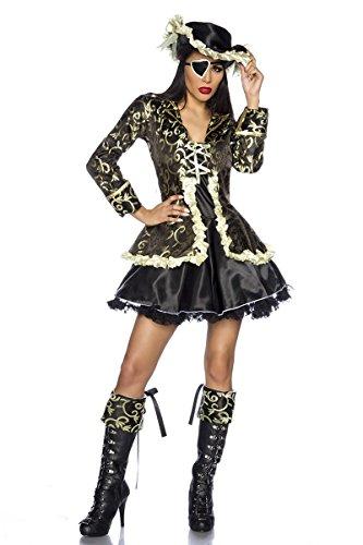 Hochwertiges Kostüm `Piraten-Braut` für Karneval und Fasching mit Hut A11286, Größe:38;Farbe:schwarz