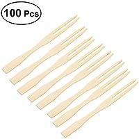 OUNONA 100 púas desechables de bambú para aperitivos de frutas, horquillas de postre, palillos de púas, suministros para fiestas