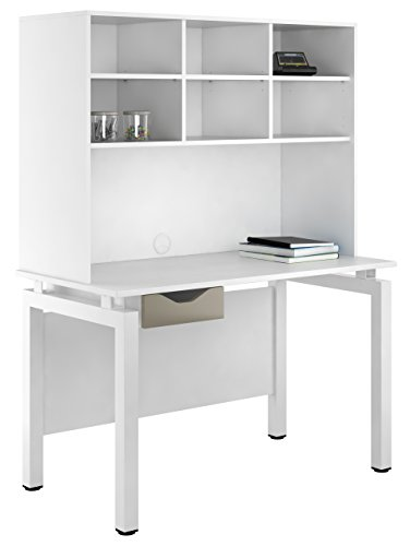 Kit Out My Office UCLIC Bench Desk Cupboard with Single Drawer and Open Upper Storage, Metal, Stone Grey, 1200 mm
