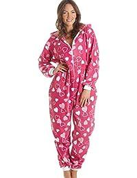 Pijama supersuave de una pieza - Con capucha - Rosa con estampado de corazones