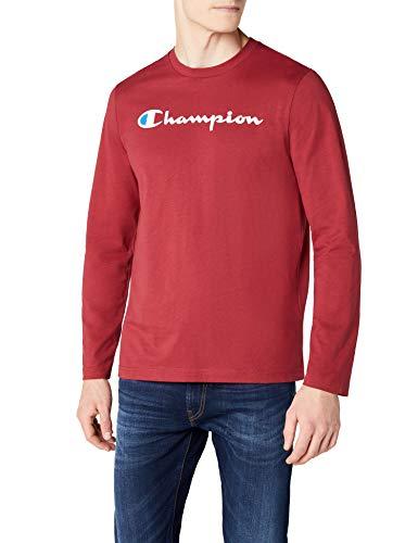 Champion long sleeve crewneck t-shirt - institutionals, maglietta uomo, rosso (cmr), medium