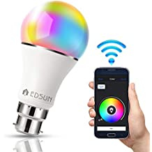 EDSUN Metal Smart LED Bulb WIFI Light, B22, 5W Equivalent to 60W RGBW Colour Changing, Timing Function, Remote Controlled IOS/Android Devices, No Hub Required Alexa, Google Home Compatible (White)