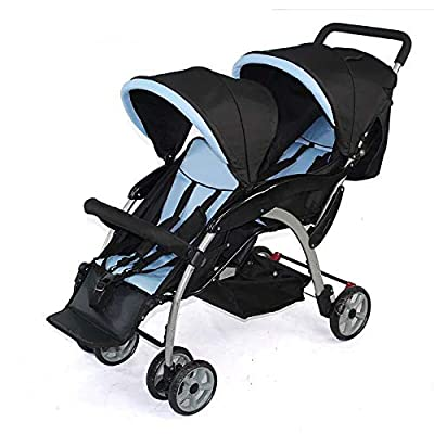 GHH Double Strollers Baby Pram Tandem Buggy Newborn Pushchair Ultra Light Folding Child Shock Absorber Trolley Can Sit Half Lying 0-3 Years Old,50kg Maximum,Blue