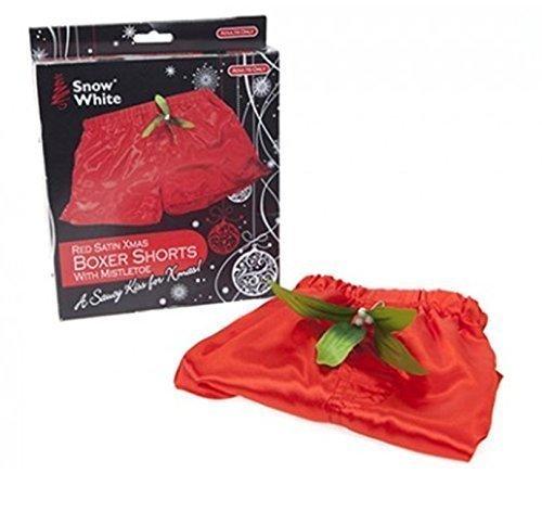 Snow White Satin, Rot, Weihnachtsmotiv Herren Boxershorts mit Mistelzweig, groß (Kostüme Snow White)