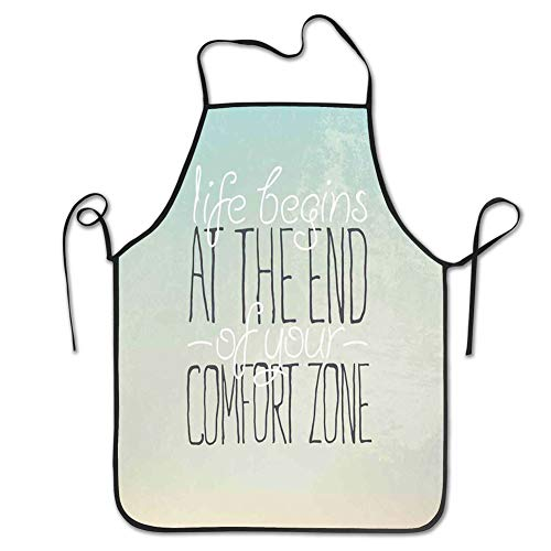 Ingpopol Cooking Kitchen Chef Apron Bib Aprons for Women Men,Lifestyle, Motivational Life Begins at The End of Your Comfort Zone Words Concept Print, Multicolor -