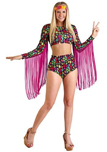 Free Spirit Hippie Women's Fancy Dress Costume - Peace Out Hippie Kostüm