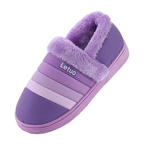 PU cuir bande imperméable pantoufles à domicile-Unisexe hiver chaud peluche chaussures bootie Violet