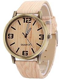 Vovotrade vendimia de madera de grano Moda mujer reloj de cuarzo (e)