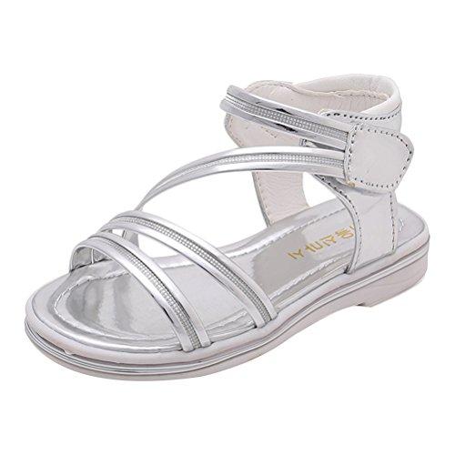 Zhhlinyuan Summer Kids Non-slip Princess Sandals Fashion Girls Flat Sandals 3 Colors silver