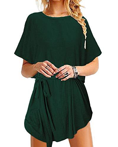 YOINS Sommerkleid Damen Tunika Tshirt Kleid Bluse Kurzarm MiniKleid Boho Maxikleid Rundhals ,Bindegürtel-grün,CN XL