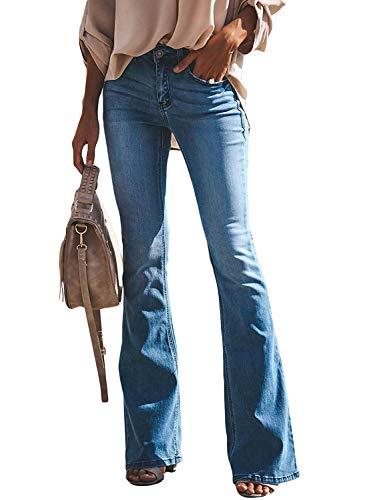 Minetom Schlaghosen Damen Jeans Hosen Stretch Skinny Destroyed Style Denim Jeanshose Retro Hohe Taille Flared Pants Blau XXL - 70er Jahre Jean