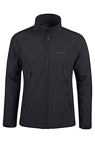 Mountain Warehouse Napier Softshell Wind Resistant Breathable Showerproof Running Walking Jacket Black Large