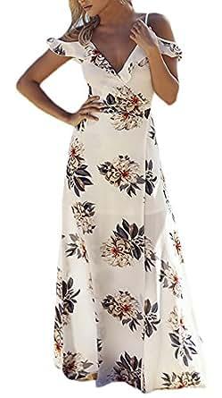 Damen Sommerkleid Lang Kurzarm V-Ausschnitt Strandkleid ...