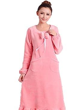DMMSS Donne flanella Camicia da notte in autunno e inverno modo delle donne pigiama di spessore a maniche lunghe...