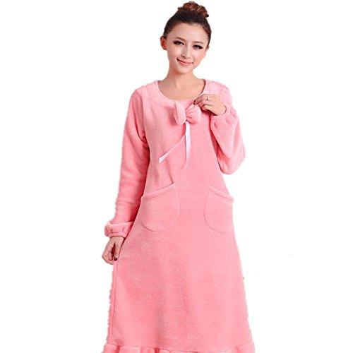 DMMSS Donne flanella Camicia da notte in autunno e inverno modo delle donne pigiama di spessore a maniche lunghe Camicie da notte Sleepwear , 1 , m