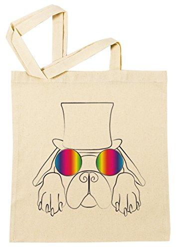 Regenbogen Brille Hund Yolo Einkaufstasche Wiederverwendbar Strand Baumwoll Shopping Bag Beach Reusable