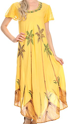 Sakkas 116 Aquarell-Palme-Behälter Kaftan Kleid - Gelb/One -