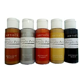 Craft Acrylic METALLICS Paint Set - Copper, Bronze, Black, Silver, Antique Gold - 59ml each - Pack of 5