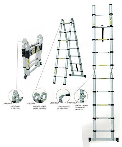 Teleskopleiter Klappleiter ausziehbare Leiter Mehrzweckleiter Aluleiter Ausziehleiter Stehleiter Anlegeleiter aus Aluminium bis 3,80m