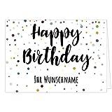 Große Glückwunschkarte zum Geburtstag XXL (DIN A4) PERSONALISIERT - Motiv Buntes Konfetti - mit Umschlag/Edle Design Klappkarte/Glückwunsch/Happy Birthday Geburtstagskarte/Extra Groß