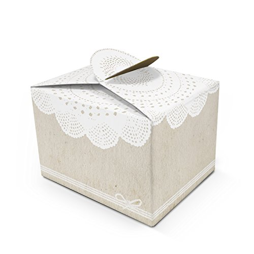 10 kleine WEISS BEIGE SPITZE Geschenkschachtel Geschenkkarton Geschenk-box mini-Kartons Faltschachtel Größe 8 x 6,5 x 5,5 cm Verpackung Tischdeko Gastgeschenk Mitgebsel give-away kleine Sachen + Dinge - Beige Praline